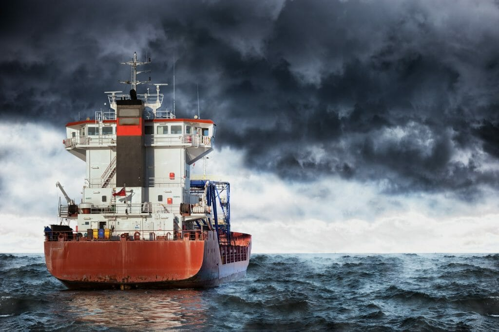 A ship gets back on course after facing stormy seas