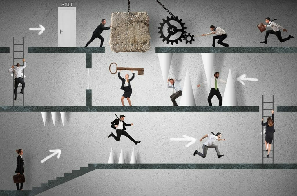 A team of people deal with hidden obstacles